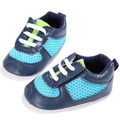 Tefamore Zapatos bebé de Laceración de la rejilla de la muchacha del Zapatillas antideslizantes suaves para niños pequeños Armada