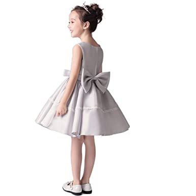 aef1996b2d6 Amazon.com  yuanbaokj Flower Girls A line Satin Sleeveless Dress Above Knee  Length Homecoming Party Gowns with Big Bowknot  Clothing