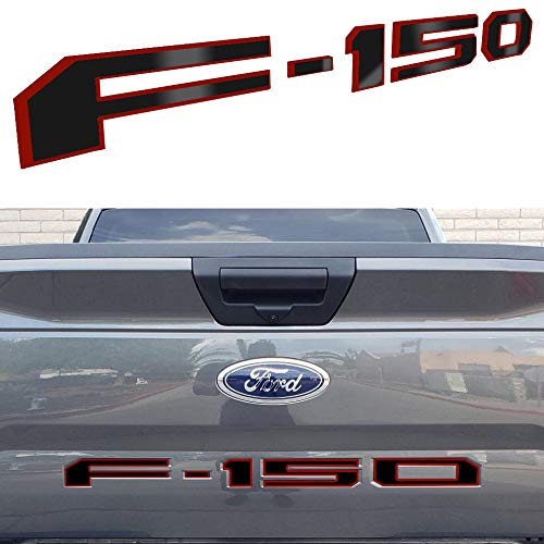ARITA Tailgate Insert Letters for Ford F150 2018-2019 - 3M Adhesive & 3D Raised Metal Tailgate Decal Letters - Gloss Black with Red Border ()