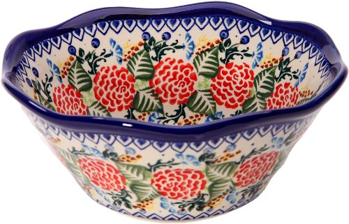 Polish Pottery Ceramika Boleslawiec 0423/280 Royal Blue Patterns with Red Rose Motif Bowl Viki 1, 3-1/4 Cup