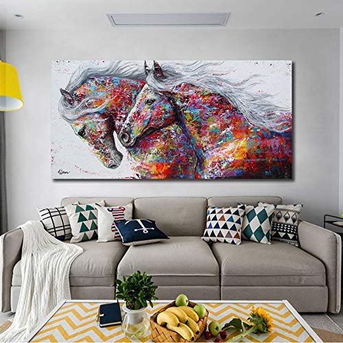 (Abstract Wall Art,Horse Wall Art,Pop Art Funny Colorful Horse Animal Print Posters on Canvas Painting Living Room Decor Home Decor Painting for Living Room Office Framed)