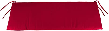 Plow & Hearth Classic Polyester Outdoor Swing/Bench Cushion, 59'' x 16'' x 3'' - Barn Red