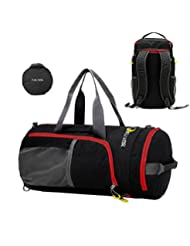 P.KU.VDSL Travel Duffel, Foldable Sports Gym Tote Bag Convertible Backpack by