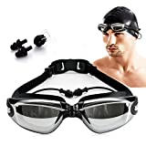 AXIAOSUSwimming Goggles, Swimming Glasses Swimming caps, Swimming Nose clips,Ear plugs, professional anti-fog and UV protection wide-angle,Quick Adjust Bungee Strap,for Adult Men Women and Youth(black