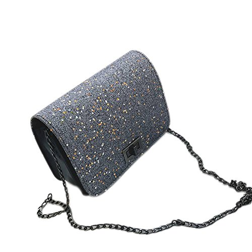 Majome Shoulder Bag Sequins Pu Women Crossbody Bags Small Lock Bag Lock Party Club Silver