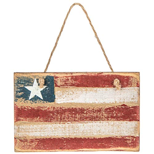 Patriotic American Flag Wooden Ornament | Primitive Rustic Farmhouse Country Decor | Americana Gifts for Men Women Military ()