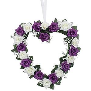 Lanlan Heart Rose Wreath for Wedding Decorations Home Decorations Door Decorations Living Room Hanging Flower White-purple 1PCS 1