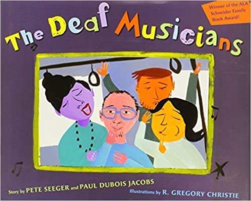 Children's book cover for the deaf musicians for 18 children's books to teach children about social issues