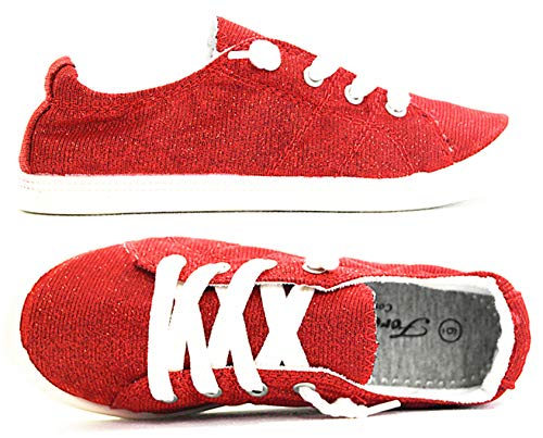 Forever Link Comfort Women's Lace up Casual Street Sneakers Flat Shoes (8 B(M) US, Red-09) (Popular Sneakers)