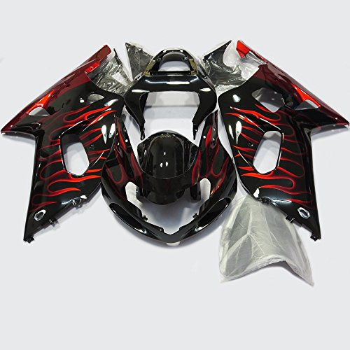 ABS Injection Molding - Red Flame Painted with Graphic Fairing Kit for SUZUKI GSXR 600 / 750 K1 (2001-2003)