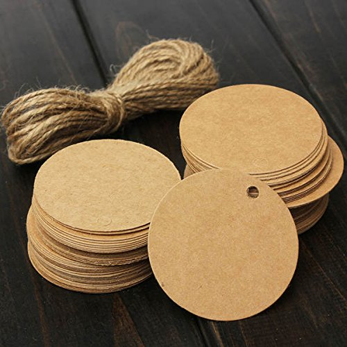 Teensery 100 Pcs Round Shape Blank Cards Kraft Paper Tags Label Price Tag Wedding Party Name Card Gift Tags Kraft Hanging Tag With String (brown) (Kraft Paper Hang Tags)