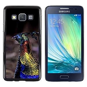 Be Good Phone Accessory // Dura Cáscara cubierta Protectora Caso Carcasa Funda de Protección para Samsung Galaxy A3 SM-A300 // peacock bird vibrant blue spring gold