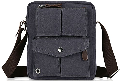 Small Vintage Canvas Shoulder Bag Messenger Bag (Blue (Small Bag Strap)
