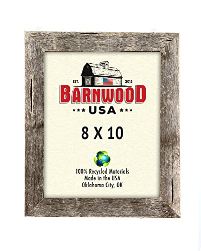BarnwoodUSA 8 by 10 Inch Picture Frame 1 ¼ Inch Wide with Easel Back and Glass - Reclaimed Wood