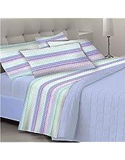 GoldenHome – Emma – Parure complète pour lit 2 places – Paire de taies d'oreiller + drap-housse + drap plat