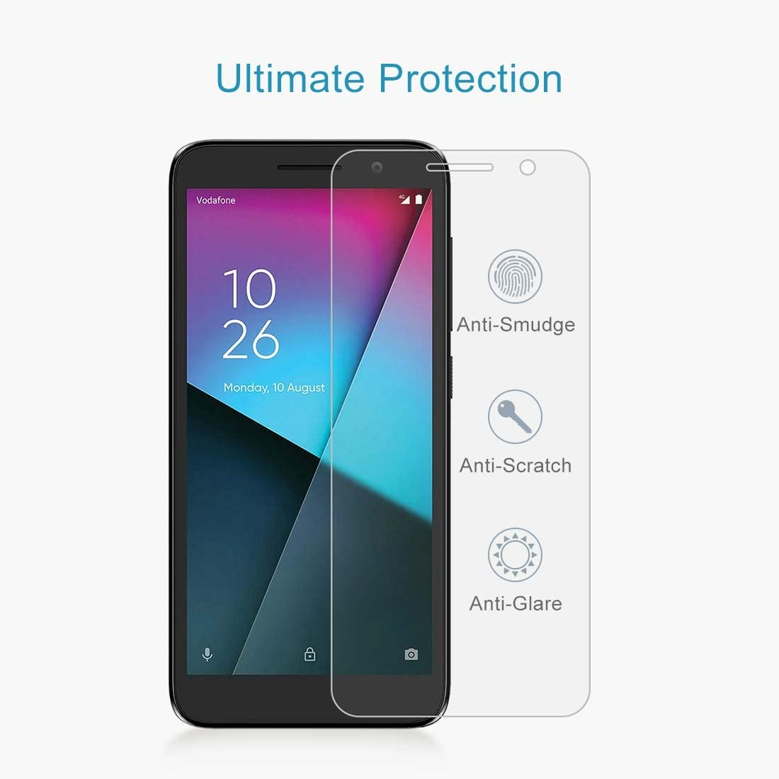 Lihuoxiu Phone Screen Protectors 100 PCS 0.26mm 9H 2.5D Explosion-Proof Tempered Glass Film for Vodafone Smart E9