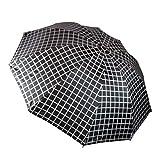 KEKEMI 3 Fold Windproof Check Print Umbrella for Men and Women (Pink)