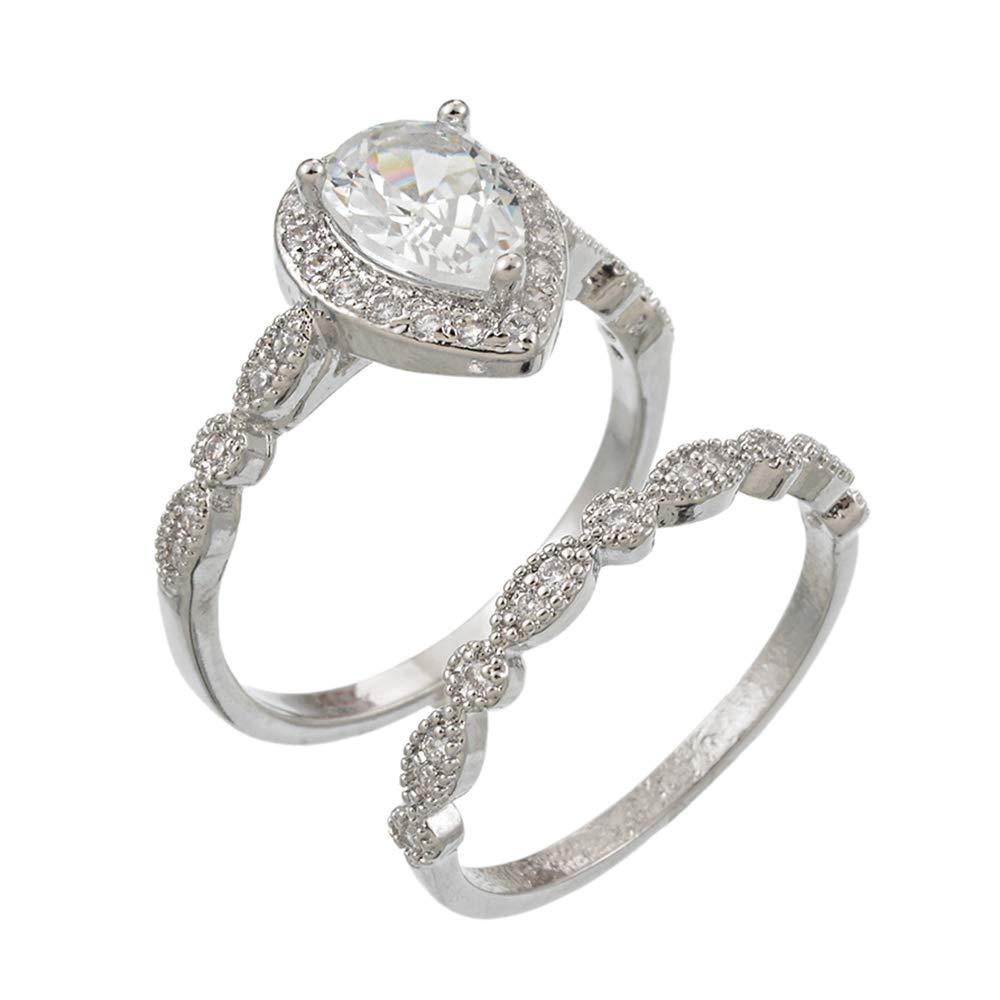 Godagoda 2pcs Women Pear Shaped Zircon Ring Engagement Ring