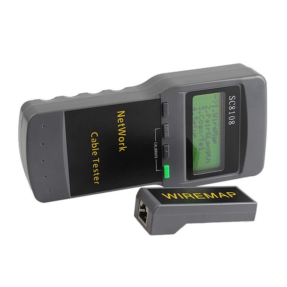 Network Length Cable Tester Meter 5E 6E SC8108 CAT5 RJ45 Gray Portable Telephone Cable Tester Meter Measure