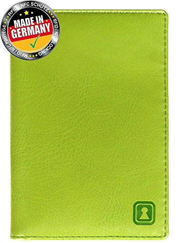 dff5b23a0329 OPTEXX® RFID Passport Wallet / Case / Organizer Mika Green TÜV tested and  certified; Made of Vegi Leather