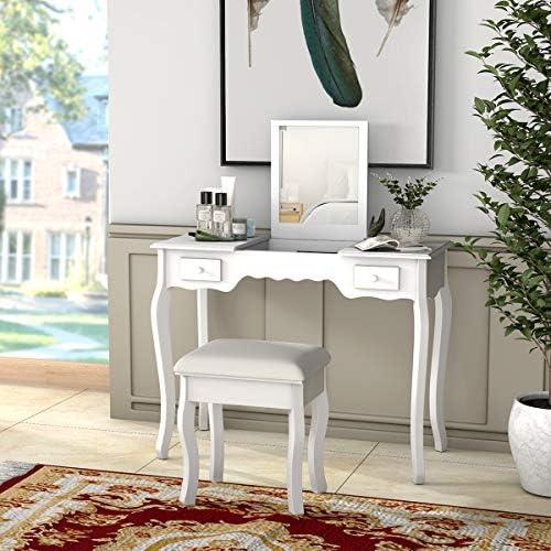 home, kitchen, furniture, bedroom furniture,  vanities, vanity benches 2 on sale Giantex Vanity Set with Flip Top Mirror and promotion
