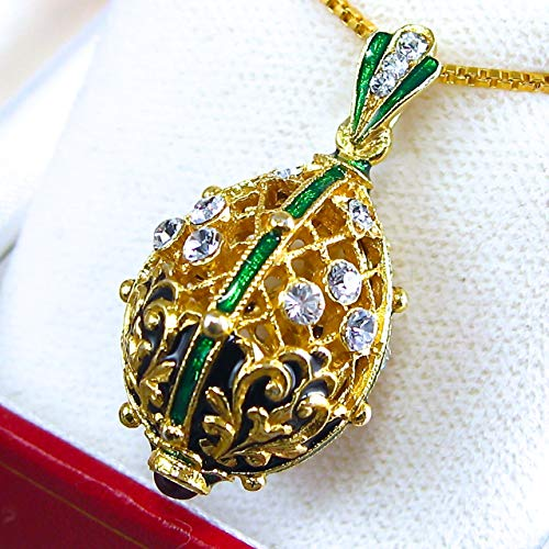ENAMEL GREEN NECKLACE Faberge style egg-shaped pendant, for sale  Delivered anywhere in USA