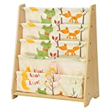 SONGMICS Children's Sling Bookcase, 4 Tier Fabric Book Shelves For School Supplies Stationery, Storage Unit and Rack in Children's Room, Nursery, Kindergarten, Animal Theme with Maple Finish, GKR71YL