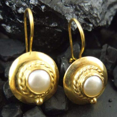 Ancient Design Jewelry Handmade Designer Fresh Water Pearl Earring 22K Gold over 925K Sterling Silver ()