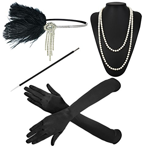 (ZeroShop 1920s Accessories Headband Earrings Necklace Gloves Cigarette Holder (Medium, M25))