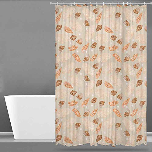 hower Curtain,Pearls Decoration,Pattern with Pearls Seashells an Oysters Natural Marine Life Style Decor Beach Theme,Single stall Shower Curtain,W94x72L Tan Peach ()