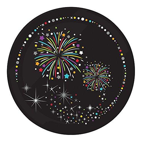 Sturdy Style Paper Dessert Plates, Firework Sparkle, 8-Count