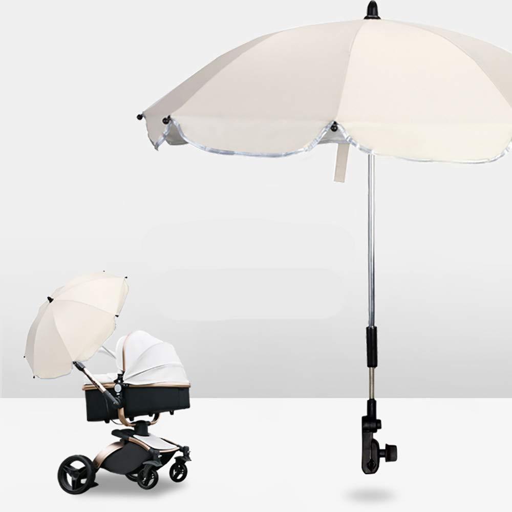 Stroller Umbrella,Babyfond Universal Folding Sunshade, Stroller Accessories,Pushchair Adjustable Umbrella with Clip and Holder (Khaki)