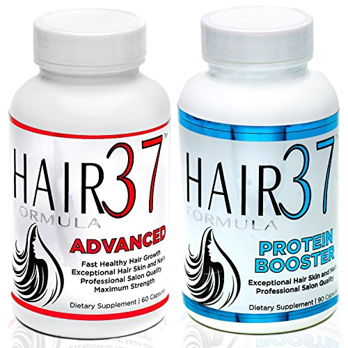 Formula Vitamins Hair 37 (Hair Supplements with Advanced Vitamins for Fast Hair Growth 18 Amino Acids for Strong Thick Hair and Nails Builds Keratin and Collagen for Skin Hair Formula 37 Advanced and Protein Booster)