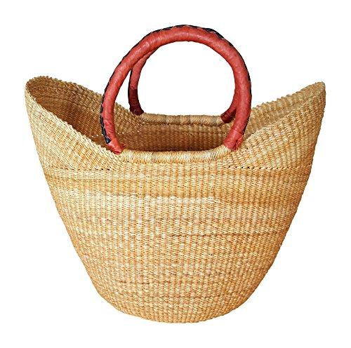 Basket Weaver Tote (Large Yikene Shopper - Ghana Bolga Basket - Dye-Free #32001)