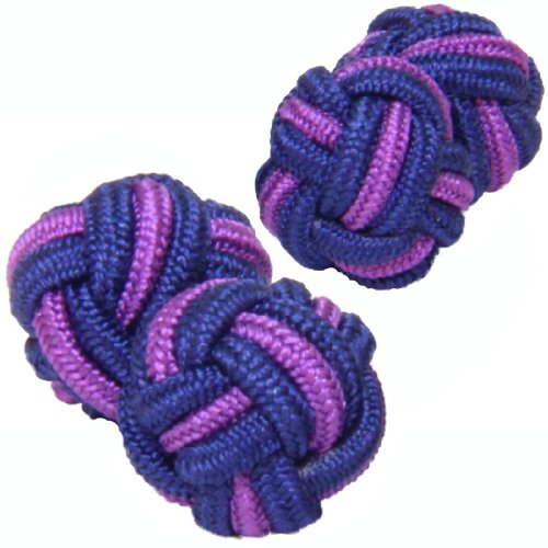 Cuffs & Co Dark Blue & Purple Silk Knot -