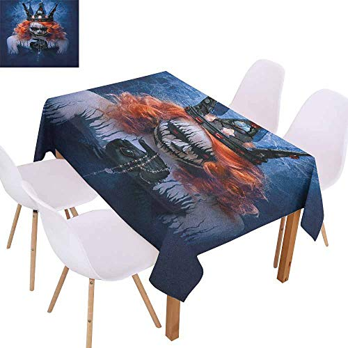 Marilec Fabric Dust-Proof Table Cover Queen Queen of Death Scary Body Art Halloween Evil Face Bizarre Make Up Zombie Party W59 xL71 Navy Blue Orange Black -
