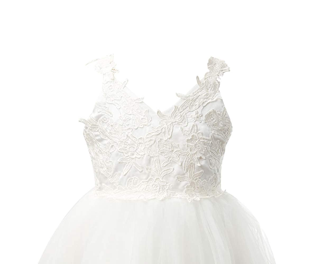 Miama Ivory Lace Tulle Backless Wedding Flower Girl Dress Junior Bridesmaid Dress