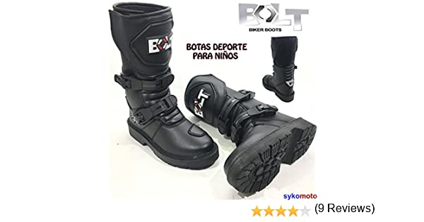 BOLT XK15 NI/ÑOS Casual Estilo Motocross Motocicleta Deporte Reforzado Botas Negro EU 37//4 UK