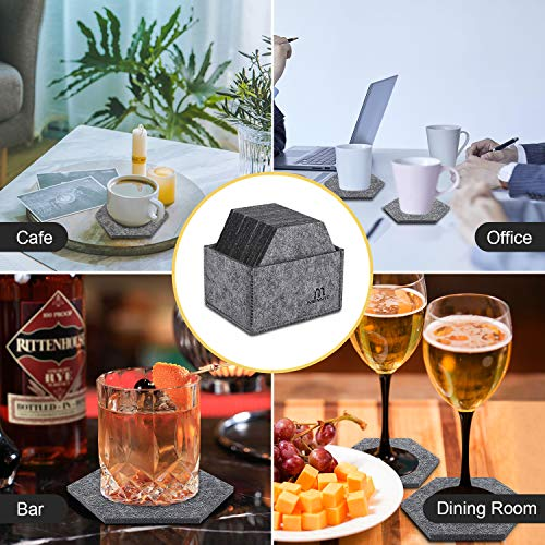 MENNYO Coasters with Holder Set of 14, Drink Coasters Mats Non Slip Heat Resistant Decorative for Home, Hexagon Felt Coasters for Bowls, Cups, Mugs, Glasses, Gray Color