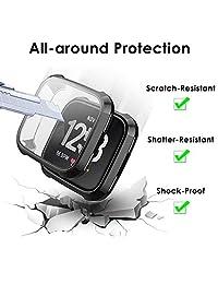 NANW - Protector de pantalla compatible con Fitbit Versa, 3 unidades de carcasa de TPU resistente para parachoques, carcasa de protección completa compatible con Fitbit Versa Smartwatch [a prueba de arañazos]