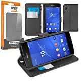 Orzly® - Multi-Functional Wallet Stand Case for SONY XPERIA Z3+ (Z4 in Japan) - BLACK Wallet Style Phone Case with Integrated Stand - Retail Packed & Designed Exclusively for use with the SONY XPERIA Z3 PLUS SmartPhone / Phablet (2015 Model)
