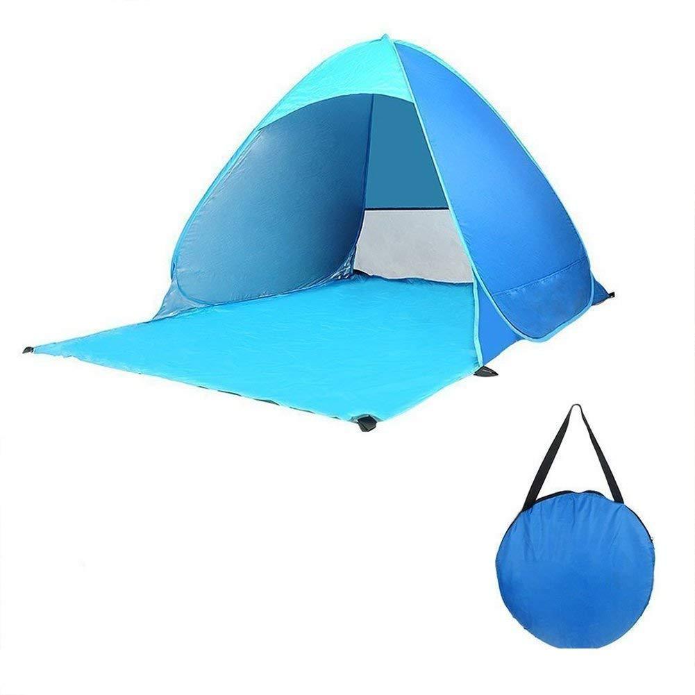 ONEGOL キャンプテント ポータブル 防水 自動 インスタントテント アウトドアスポーツ 23人用 テント シェルター 紫外線対策 キャンプ ビーチ 家族 釣りテント ブルー   B07J59JMHD