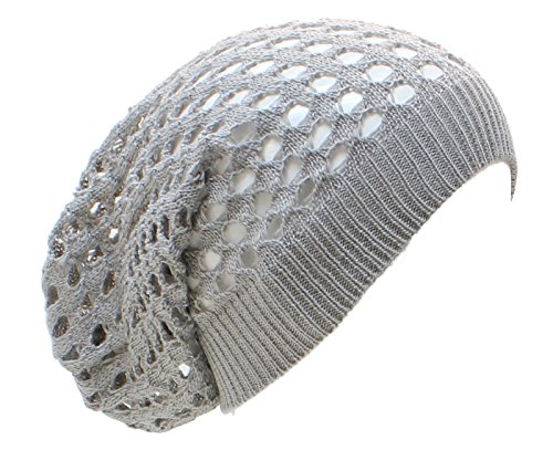 an Long Beanie Hat Gray Fishnet Chic Cap for Women Men Teens Spring Fall Fishnet