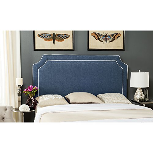 Safavieh Mercer Collection Dane Denim Blue & White Piping Headboard, Full - Notched Full Headboard