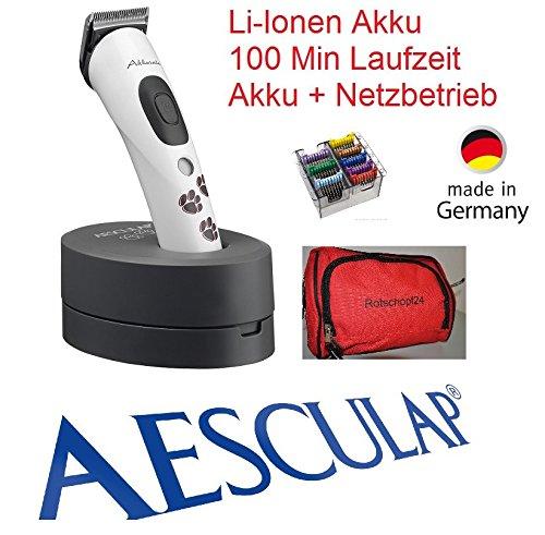 Rotschopf24 Edition: AESCULAP Akku Hundeschermaschine Akkurata (GT 405) + 8 Metallaufsteckkämme + Tasche!