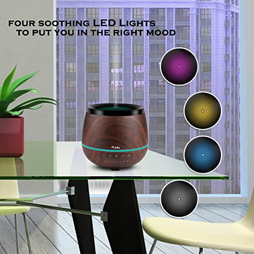 MOKSHA Aromatherapy Diffuser 200ml Bluetooth Speaker PLUS 10ml Lavender Essential Oil Ultrasonic Cool Mist Humidifier LED Lights Portable Waterless Auto Shut-off Timer Adjustable Mist mode (BLACK)