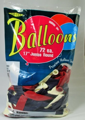- Balloons 17 Inch PARTY-TEX Premium Patriotic Assortment Latex Pkg/72
