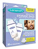 Baby : Lansinoh Breastmilk Storage Bags, 50 Count convenient milk storage bags for breastfeeding, includes 2 free pump adapters