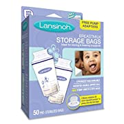 Lansinoh Breastmilk Storage Bags, 50 Count convenient milk storage bags for breastfeeding, includes 2 free pump adapters