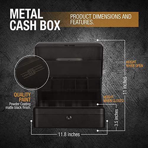Cash Box with Money Tray- Safe Metal Lock Box- Locking Boxes with Key- Large Storage Lockbox with Safety Holder- Money Saving Organizer- Security Box with Coin Tray Lid Photo #6